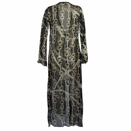 Zwart met gouden kettingen kimono