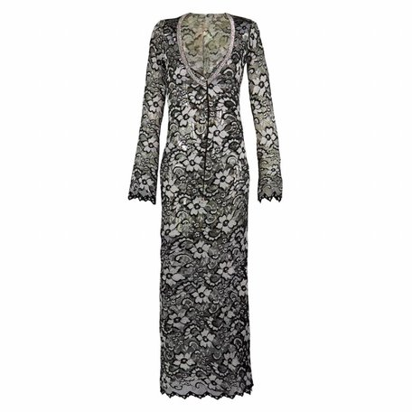 Zwart / zilver kanten jurk