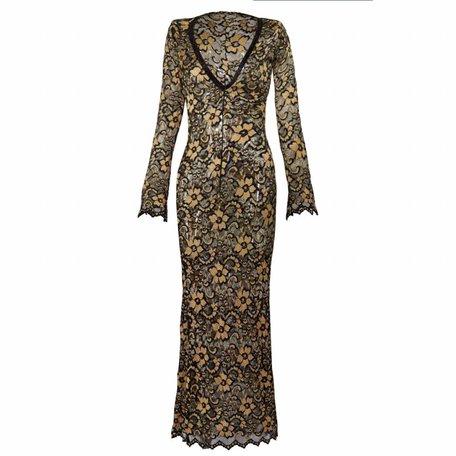 Zwart / gouden kanten jurk