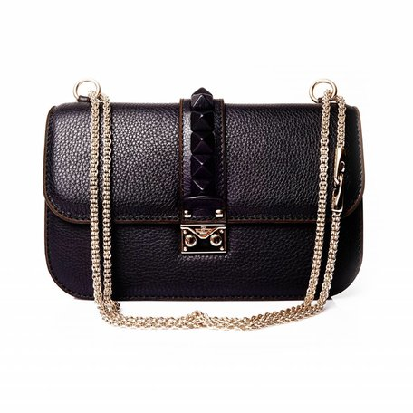 Valentino, Garavani black glam lock bag