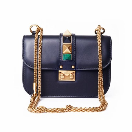 Valentino, navy glam lock Garavani bag