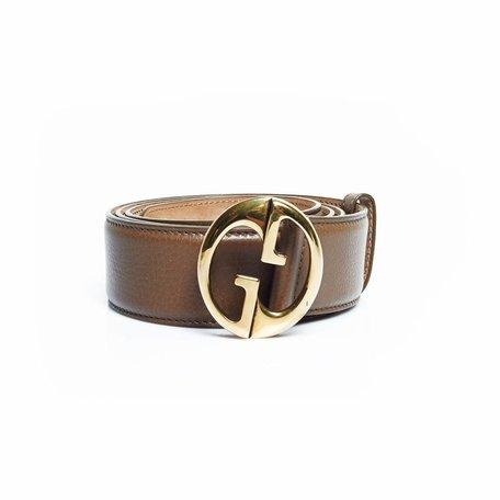 Gucci riem bruin met gouden GG