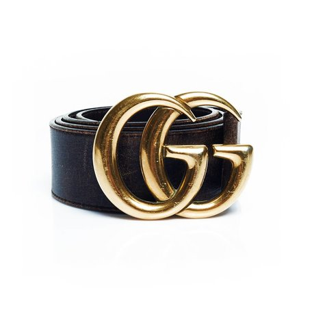 Gucci black belt with gold GG