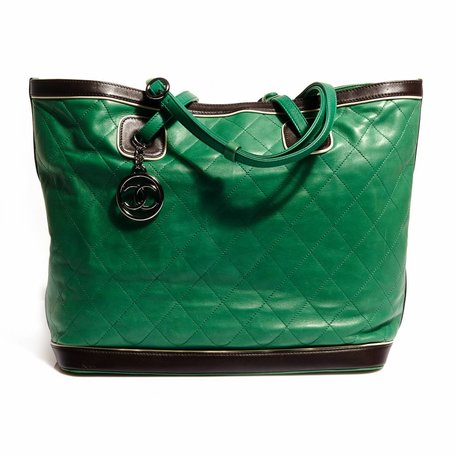 Green Chanel shopper
