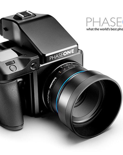 Phase One Bestehend aus Kamera, Objektiv und Digitalback