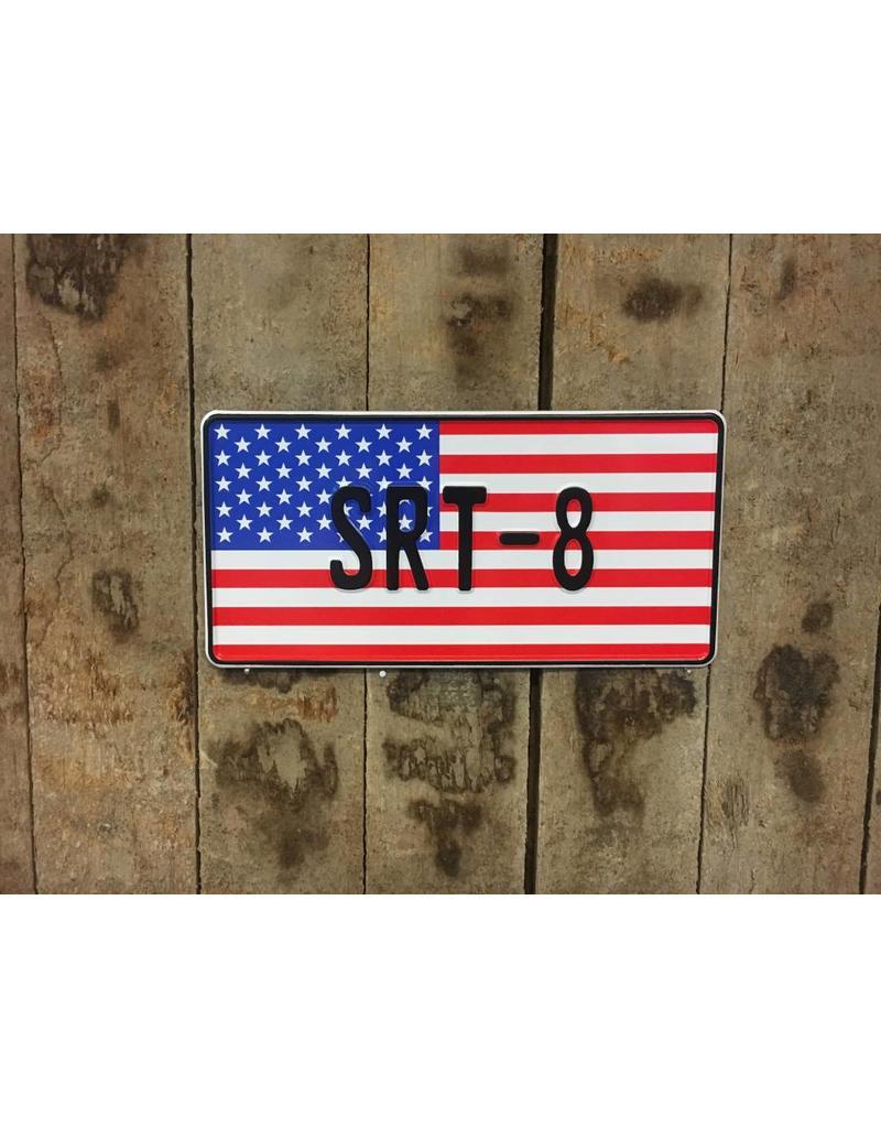 Amerikaanse Vlag Kentekenplaat met naam