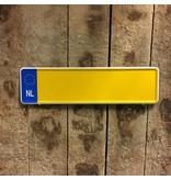Geel NL Midi Kentekenplaat met naam  34x9