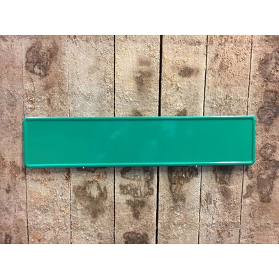 Groene kentekenplaat met naam