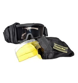 Phantom Tactical Goggle zwart - met 3 lenzen