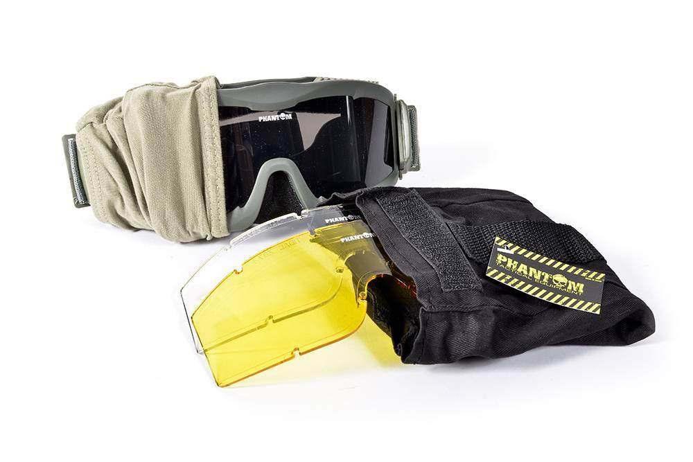Phantom Tactical Goggle groen- met 3 lenzen