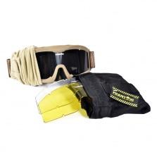 Phantom Tactical Goggle tan- met 3 lenzen