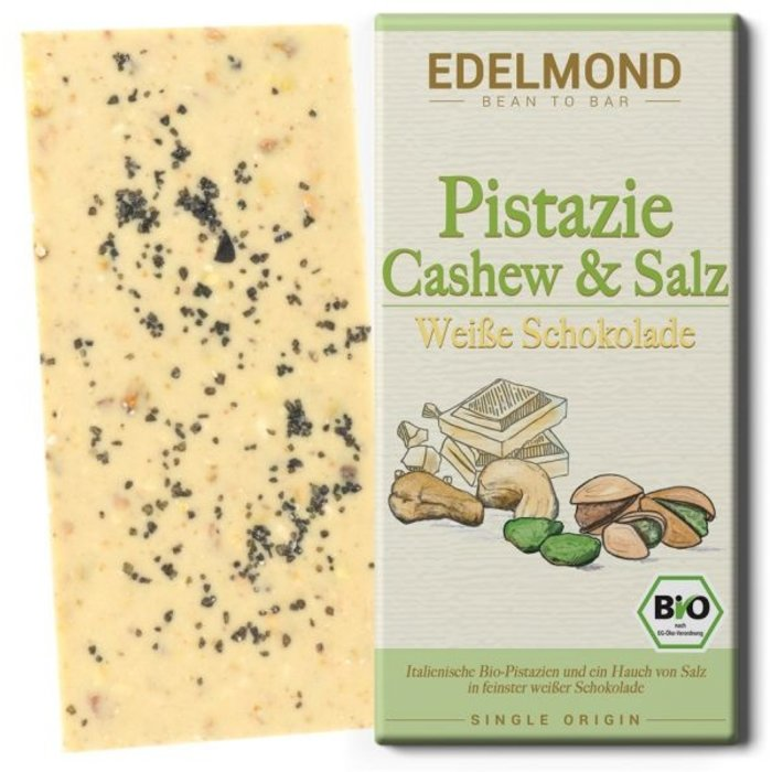 -  Gesalzene Pistazie, Weiße Schokolade, Bio, 75g