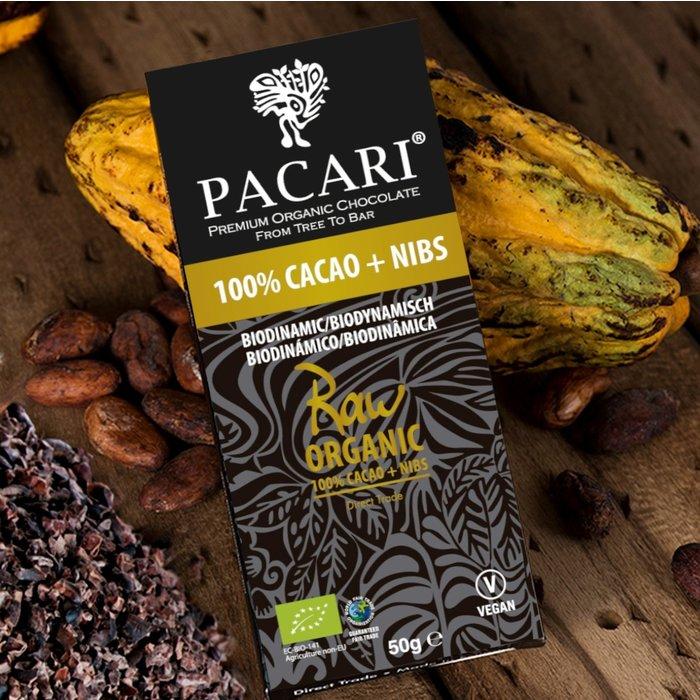 - Rohe Bio Schokolade PACARI 101% & Nibs , 50g
