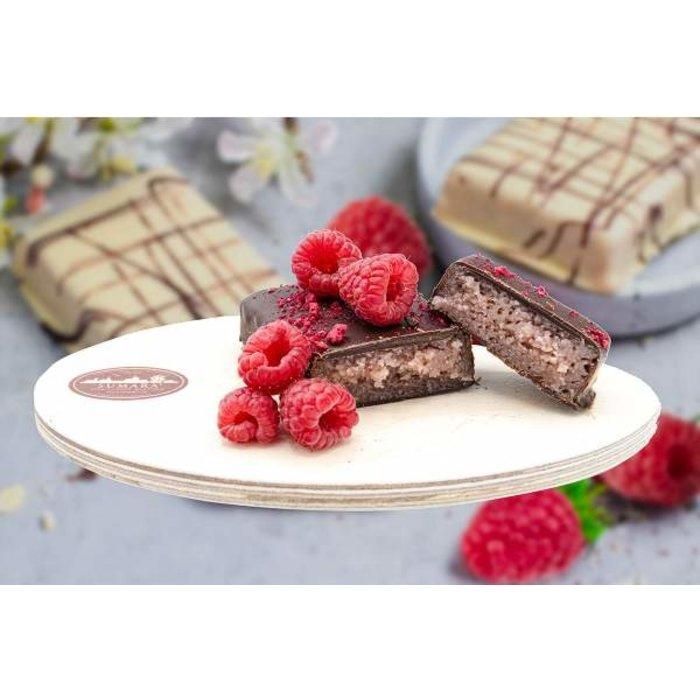 - Himbeer-Marzipantafel mit Zartbitterschokolade