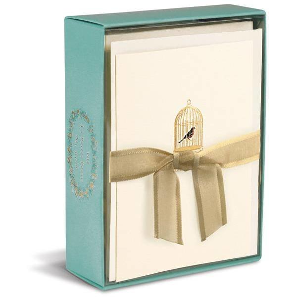 Graphique de France Golden Birdcage La Petite Presse 10 Boxed Notitiekaarten met envelop