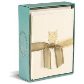 Graphique de France Owl On A Branch 10 Boxed Grußkarten mit Umschlag
