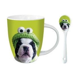 Otter House Französisch Bulldog Hot Chocolate Mug - Kermit Mops