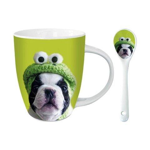 Franse Bulldog Hot Chocolate Mok - Kermit
