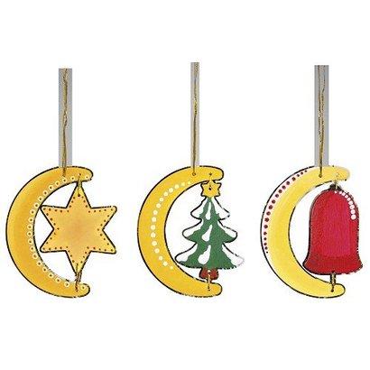 Houten kersthangers (12 stuks)