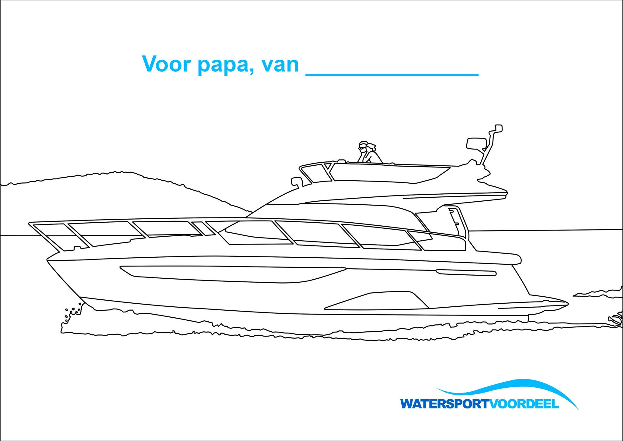 Kleurplaat vaderdag Watersportvoordeel