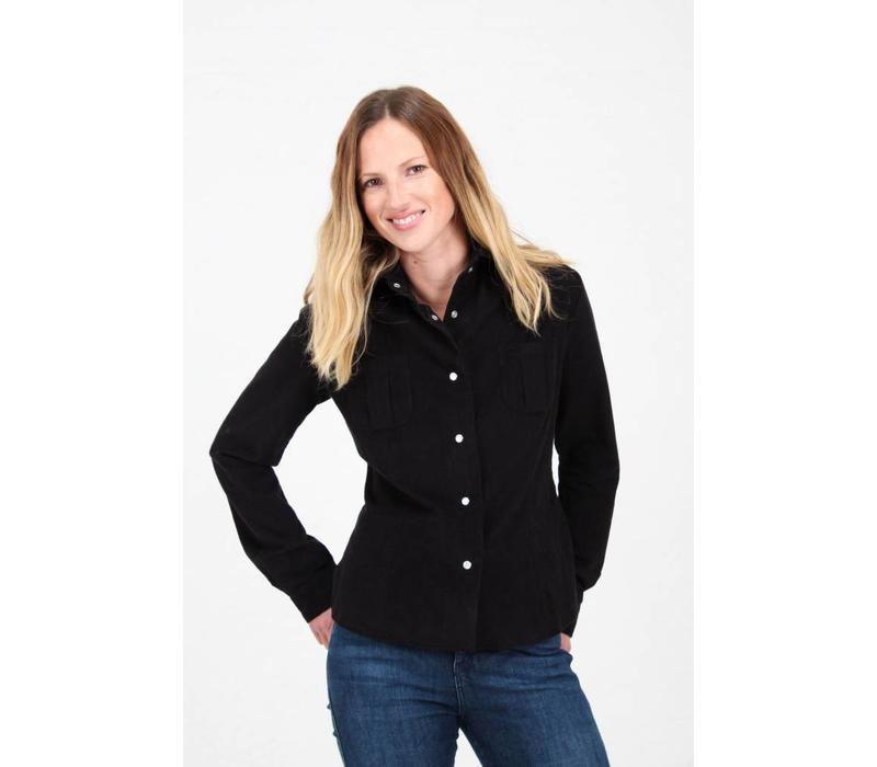 Jaba Leonie Shirt in Black PinCord