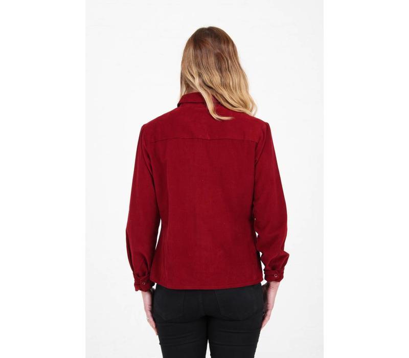 Jaba Leonie Shirt in Red PinCord
