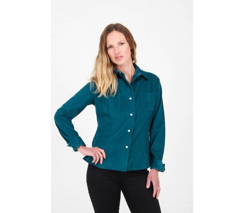 Jaba Leonie Shirt in Teal PinCord