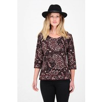 Jaba 3/4 Sleeved Top in Black Paisley