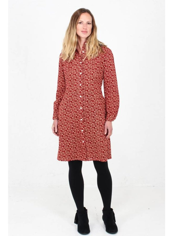 Jaba Leonie Shirt Dress in Winter Red