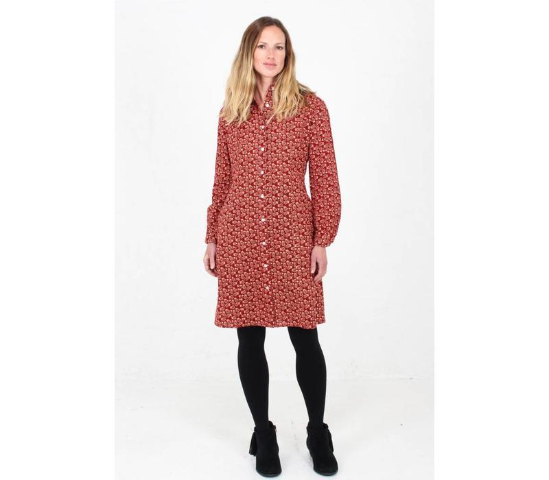 Jaba Leonie Shirt Dress in Winter Red