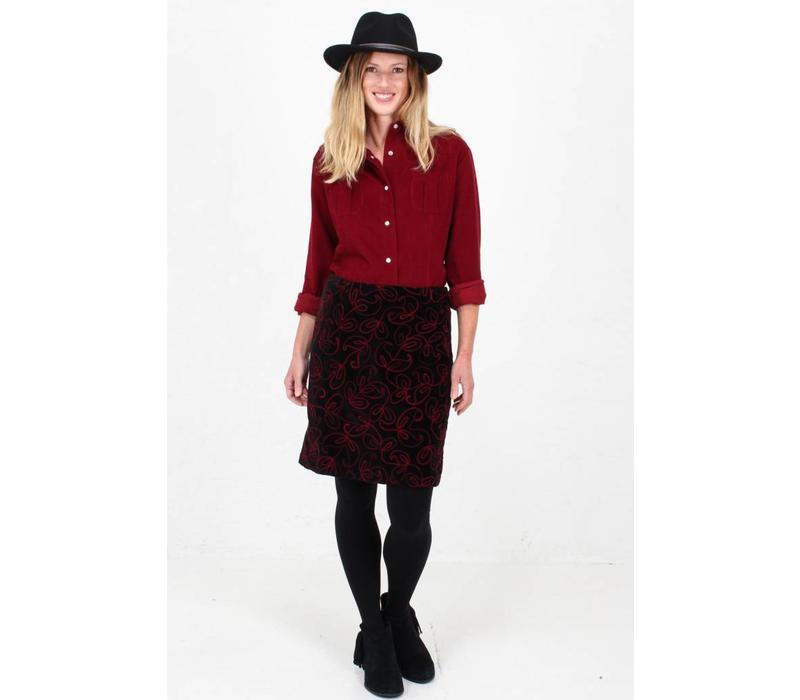 Jaba Velvet Embroidered Skirt