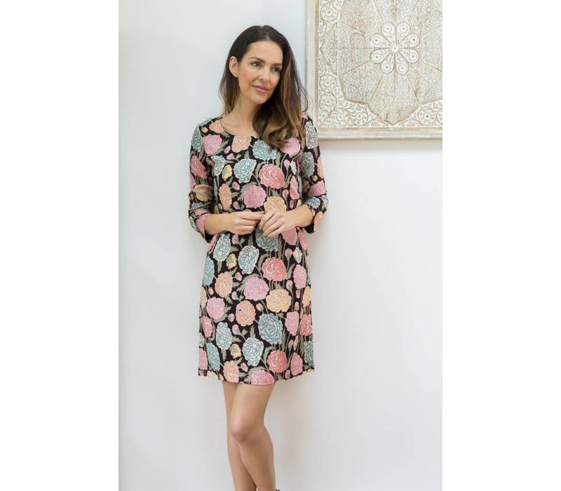 Jaba Georgina Dress - Hydrangea Black