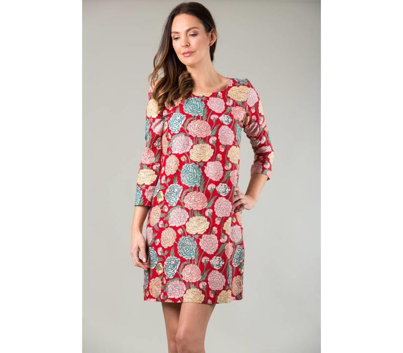 JABA Georgina Dress - Hydrangea Red