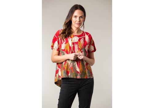 JABA Jaba Edie T-Shirt in Palm Red Print