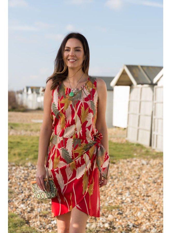 JABA Sarong Dress in Palm Red