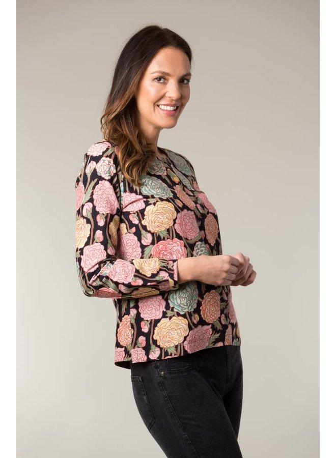 Jaba Long Sleeved Top in Hydrangea Black