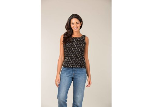 JABA Jaba Leila Top in  Black Honeycomb