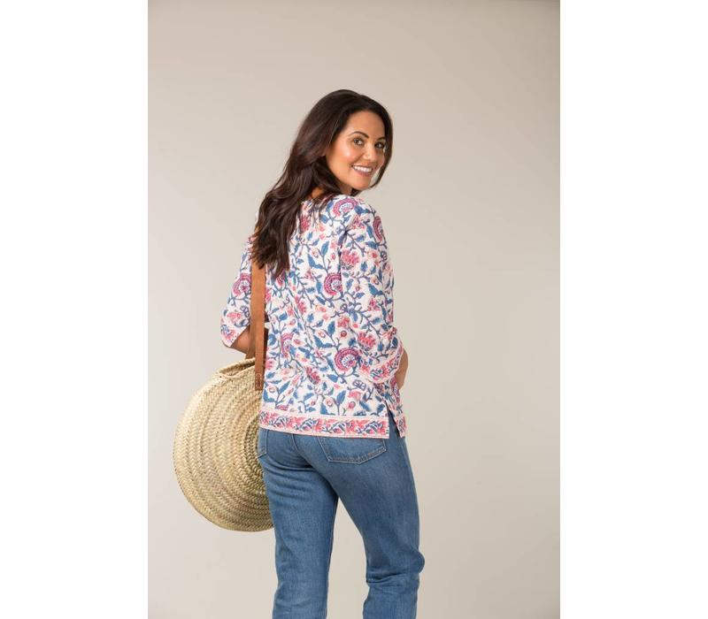 Jaba 3/4 Sleeve Top in Pink Block