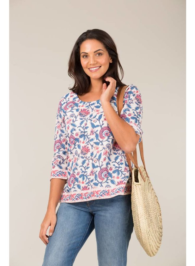 Jaba 3/4 Sleeve Top in Pink Block