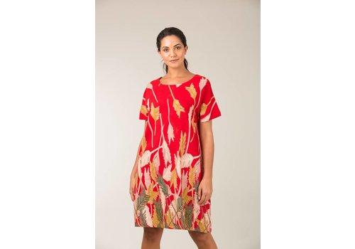 JABA Jaba Etta Dress in Palm Red