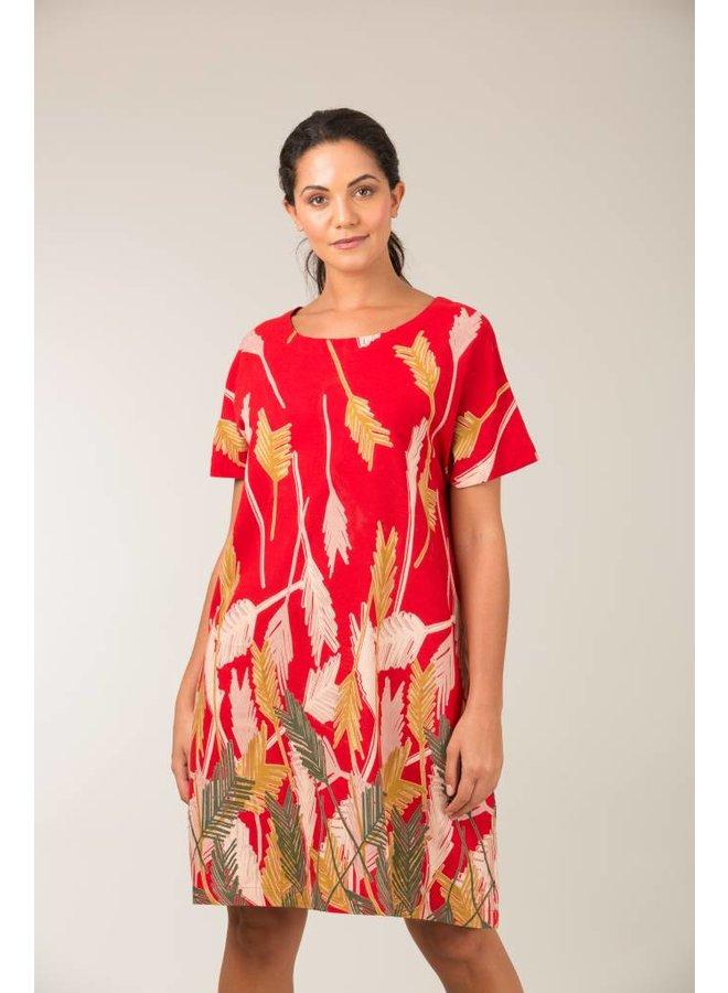 Jaba Etta Dress in Palm Red