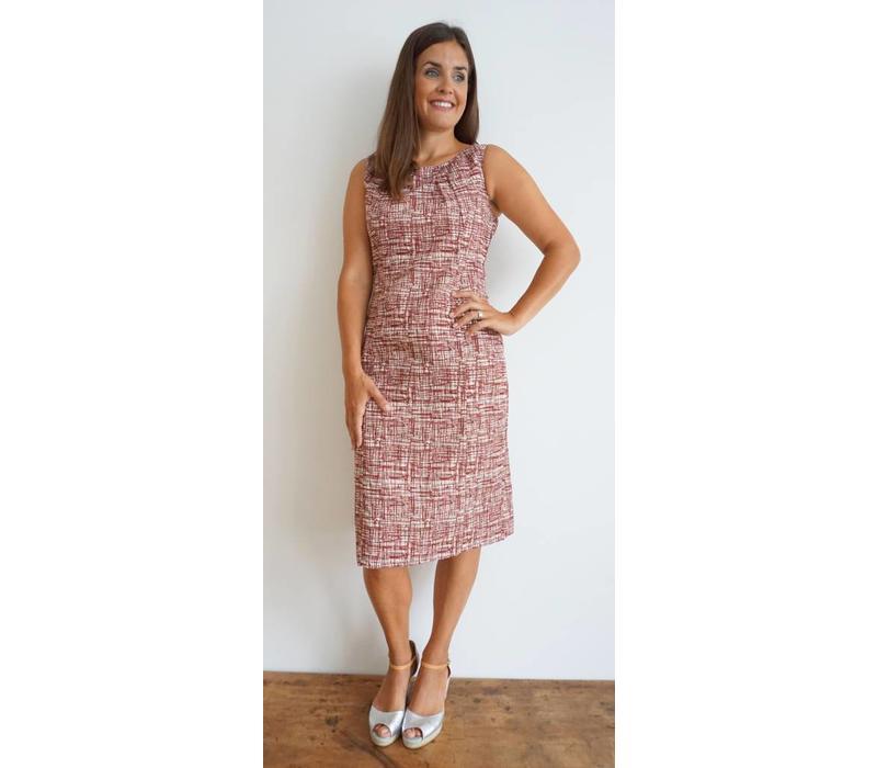 JABA Emily Dress - Burgundy Grid