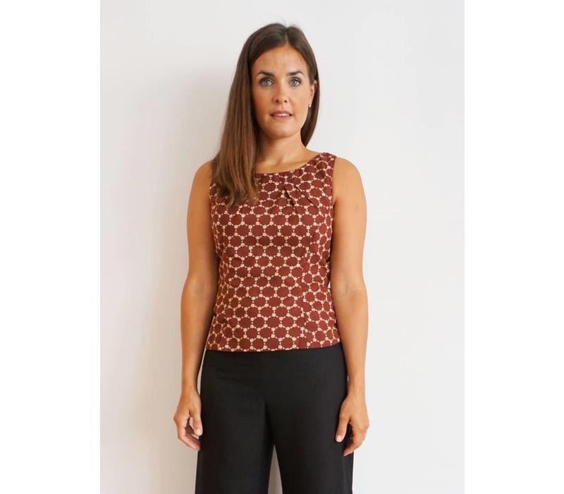 JABA Leila Top - Burgundy Honeycomb