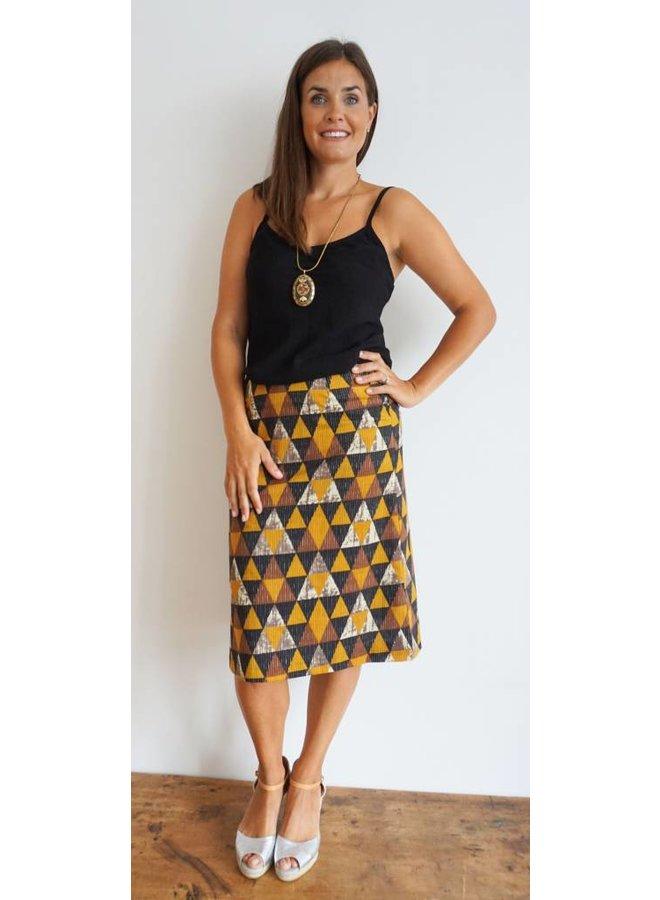Jaba Lauren Skirt in Triangle Print