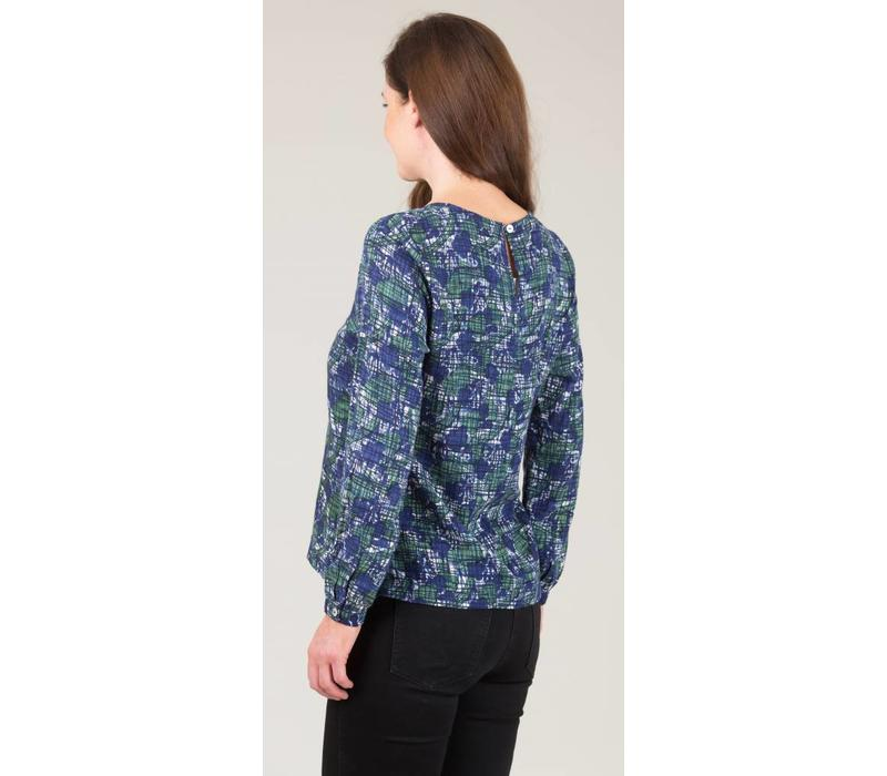 Jaba Long Sleeved Top in Blue Abstract