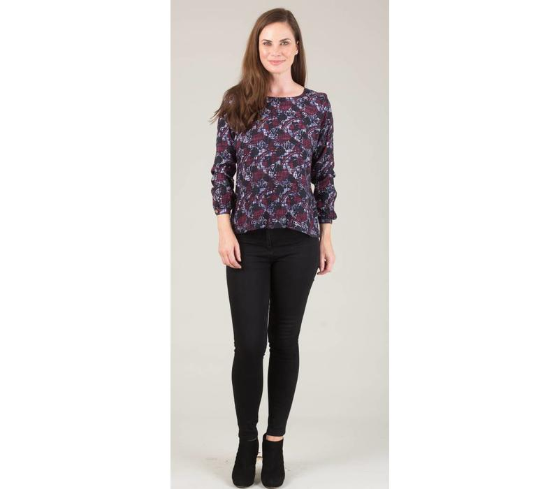 Jaba Long Sleeved Top in Aubergine Abstract