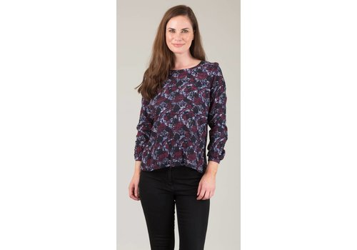 JABA Jaba Long Sleeved Top in Aubergine Abstract