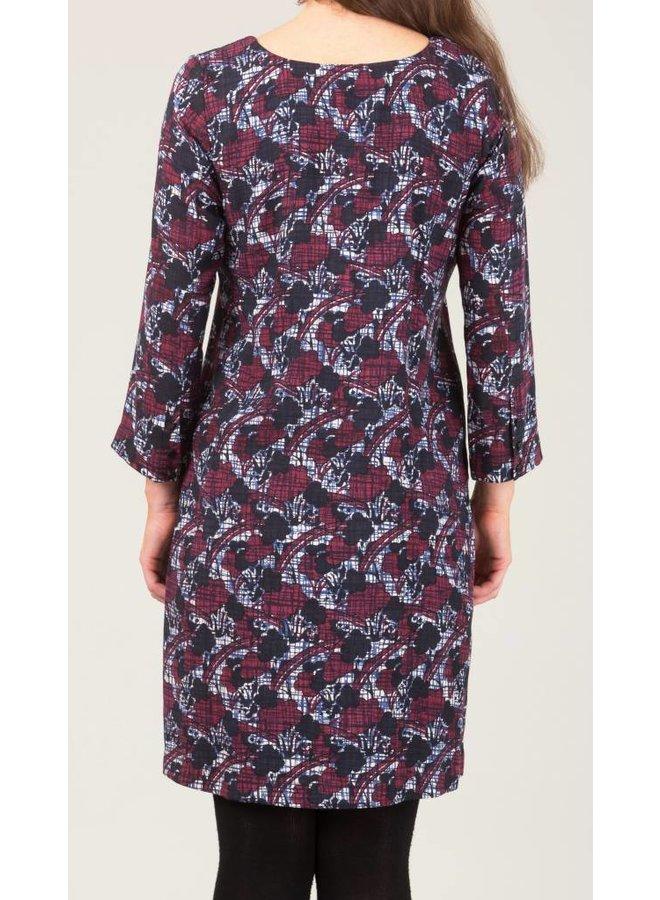Jaba Georgina Dress in Aubergine Abstract