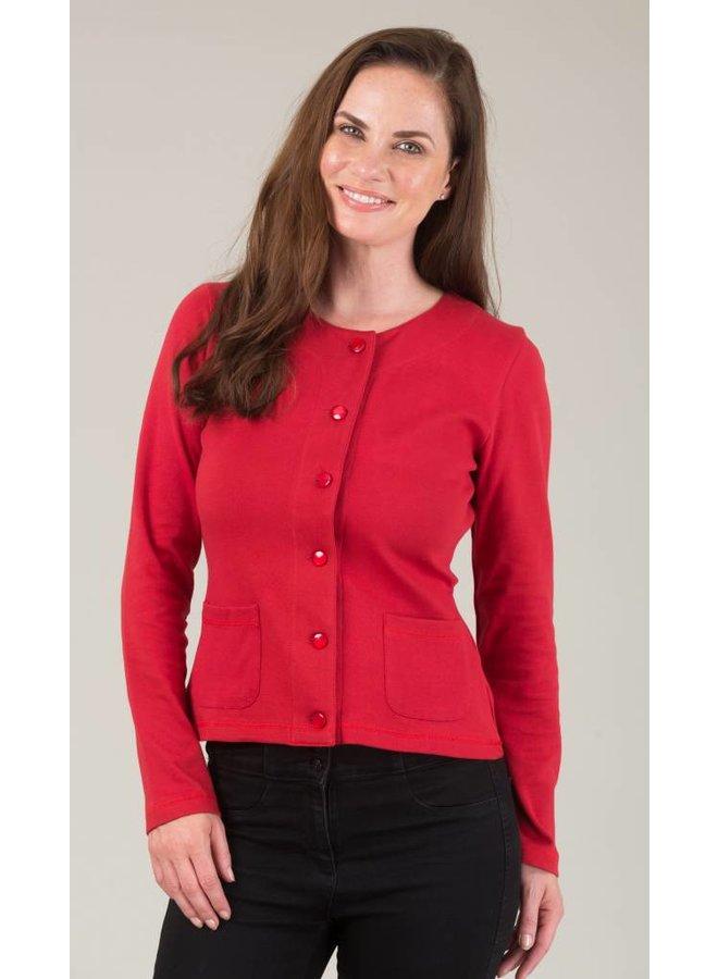 JABA Jersey Cardigan in Red