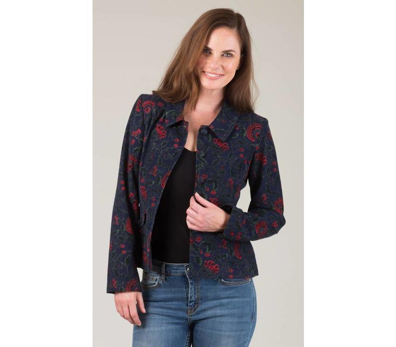 Jaba Short Jacket in Navy Block Print